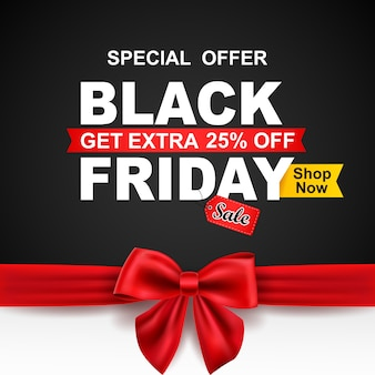 Black friday sale with red ribbon.