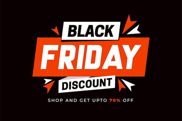 Black friday sale with red white ribbons on black background