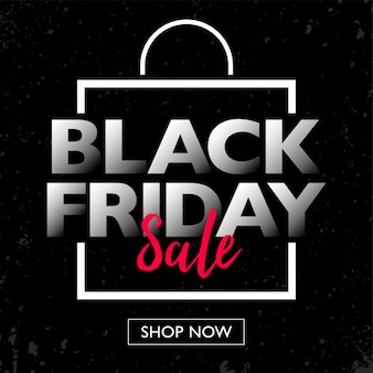 Black friday sale with shopping bag frame concept banner