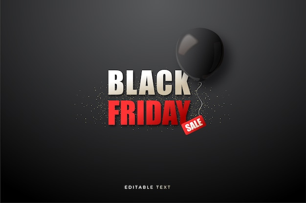 Black friday sale with simple writing and 3d black balloons.