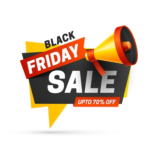 Black friday sale with speaker on white background