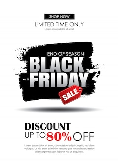 Black friday sale with text on brush stroke template
