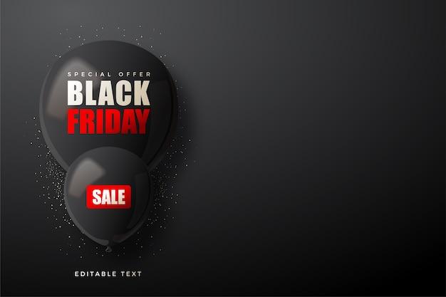 두 개의 3d 검은 풍선과 함께 검은 금요일 판매