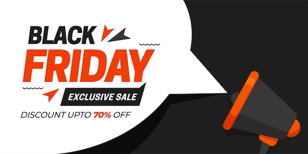 Black friday sale with white element with speaker on black background