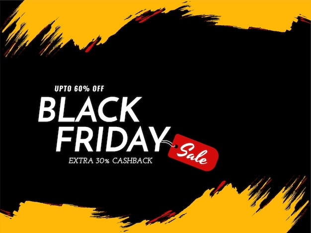 Black friday sale yellow brush stroke background
