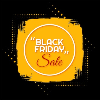 Black friday sale yellow brush stroke frame background