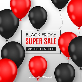 Black friday sales background with balloons