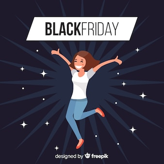 Black friday sales background with happy girl