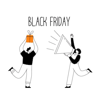 Black friday. sales and discounts in stores. linear characters with paper bags, with shopping.