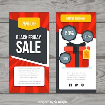 Black friday sales flyer template with gift box