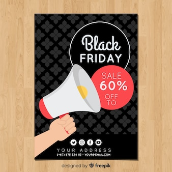Black friday sales flyer template with megaphone