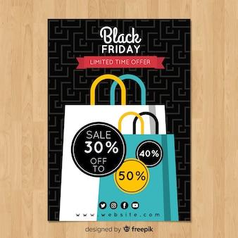Modello di volantino di vendita venerdì nero con borse della spesa