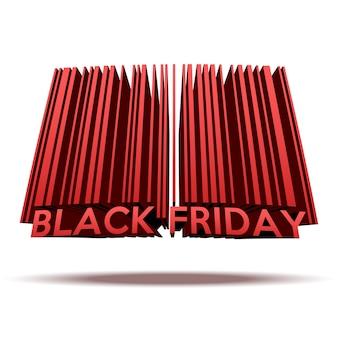 バーコードスタイルのブラックフライデーセール。白い背景で隔離のショッピングイラスト。