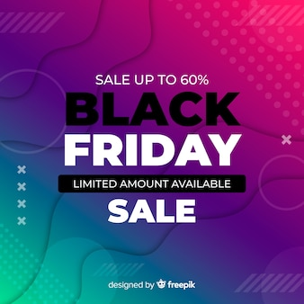 Black friday sales on memphis gradient background