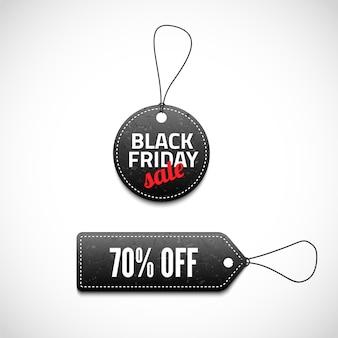 Black friday sales tag set.