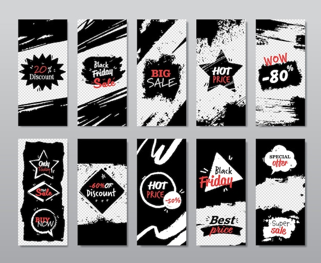 Black friday set discount banner collection holiday shopping