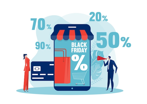 Черная пятница, люди, покупающие со скидкой, интернет-магазин, рекламная маркетинговая иллюстрация.