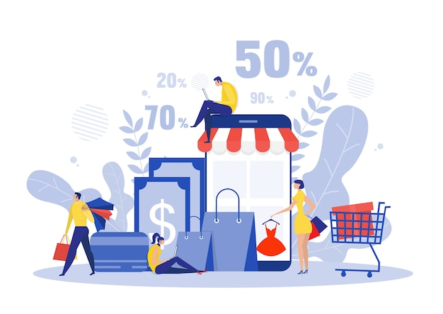 Black friday shop, people buying on super discount ,shop online service, promo purchase marketing illustration