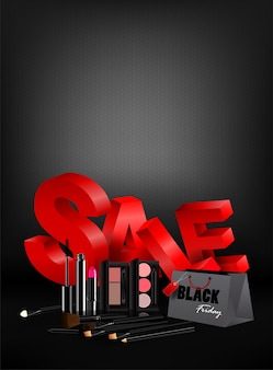 Black friday shopping bag cosmetics and marketing template