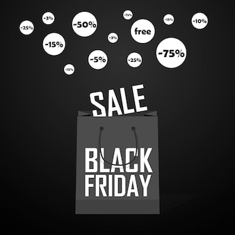 Black friday shopping bag and sales tag marketing template. eps 10 vector. grouped for easy editing. no open shapes or paths.