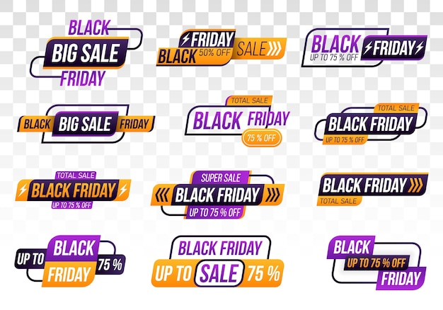투명 한 배경에 검은 금요일 쇼핑 배너. 블랙 프라이데이 컬렉션.