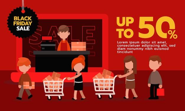 검은 금요일 쇼핑 배너. 온라인 쇼핑 그림입니다.