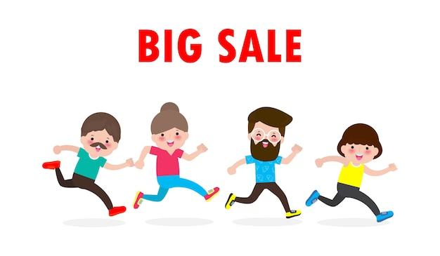 검은 금요일 쇼핑 개념, 실행하는 사람들의 할인 군중과 큰 판매.