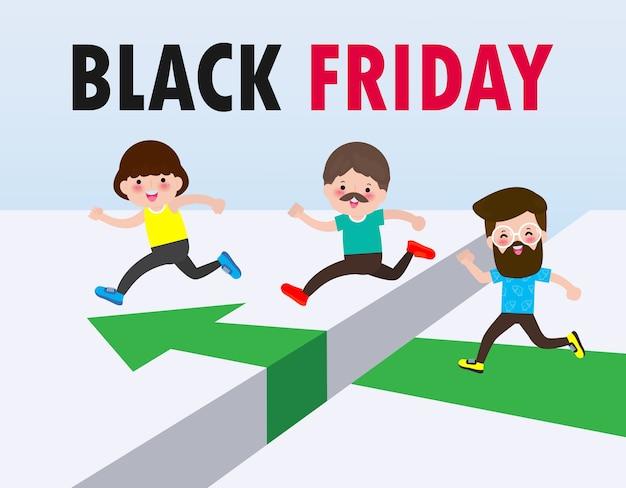 블랙 프라이데이 쇼핑 개념 그룹 실행 및 판매 상점 구매 격차를 뛰어 넘는 사람들, 광고 포스터 배너 큰 할인 프로모션 판매 이벤트 배경에 고립