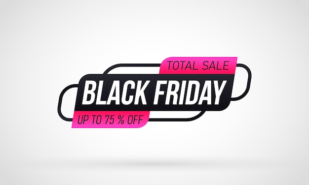Black friday shopping label on white background