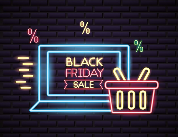 네온 불빛에 검은 금요일 쇼핑 판매