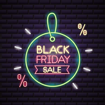 Black friday shopping sale in neon lights