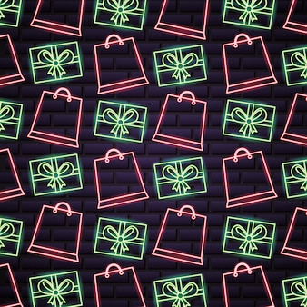 Black friday shopping sale pattern in neon lights