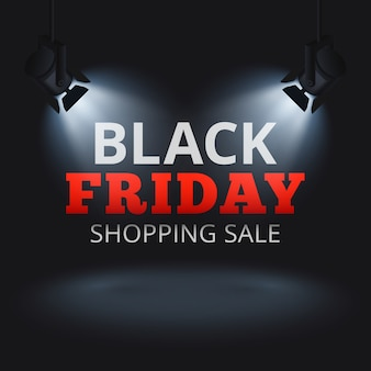 무대와 조명 된 텍스트에 스포트 라이트와 검은 금요일 쇼핑 판매 벡터 배경. 검은 금요일 할인 배너, 프로모션 광고 일러스트 레이션