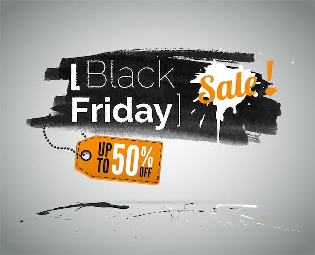타이포그래피가 있는 검은 금요일 쇼핑 판매 벡터 삽화. 저가광고. 상점 특별 제공 프로모션. 최대 50% 할인 태그 할인