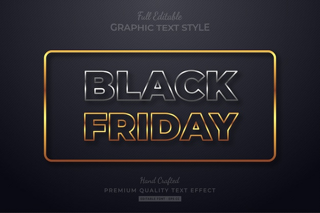 Black friday silver gold editable text style effect