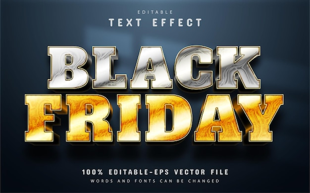 Black friday, silver and gold text effect editable