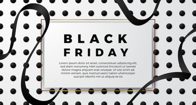 ブラックフライデーのシンプルなミニマリズムサルは、黒いリボンと白い色のポスターバナーテンプレートを提供します