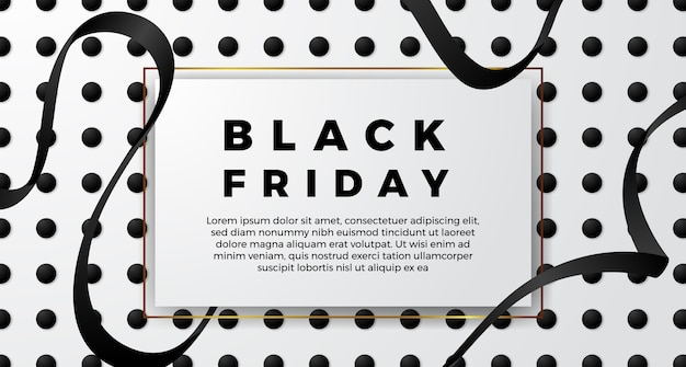 Black friday simple minimalism sal offer poster banner template with black ribbon and white color