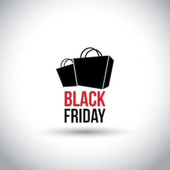 ブラックフライデー。白い背景にショッピングバッグでシンプルなタイポグラフィ