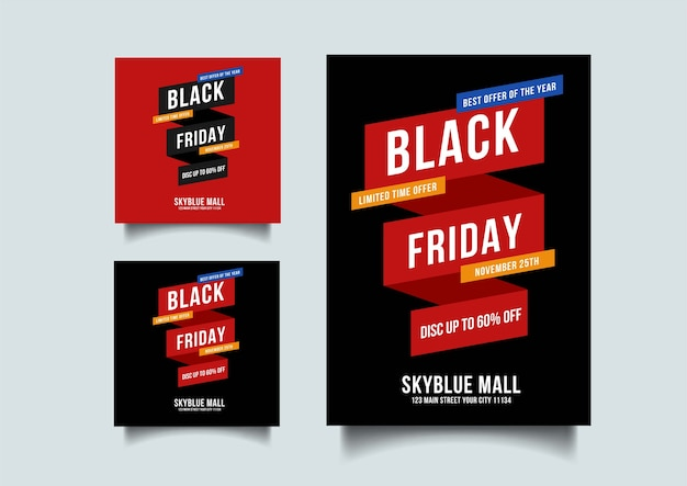 Black friday social media and   flyer   template