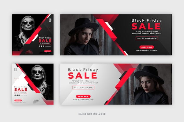 Black friday social media instagram post with facebook cover web banner