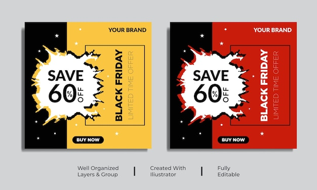Black friday social media post banner template vector premium vector
