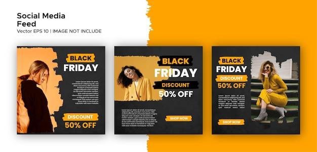 블랙 프라이데이 소셜 미디어 게시물 피드 및 스토리 번들 템플릿