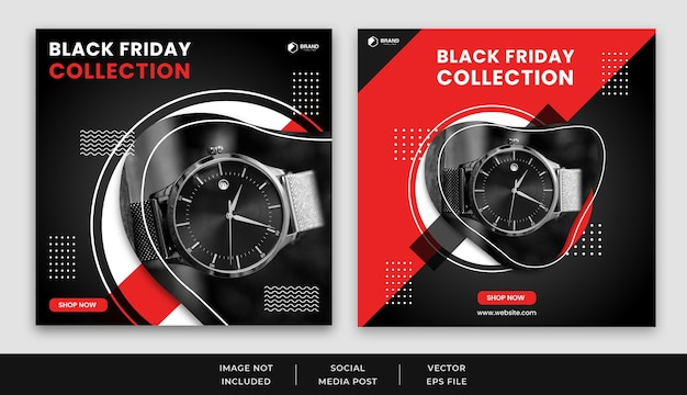 Black friday social media post feed banner template set