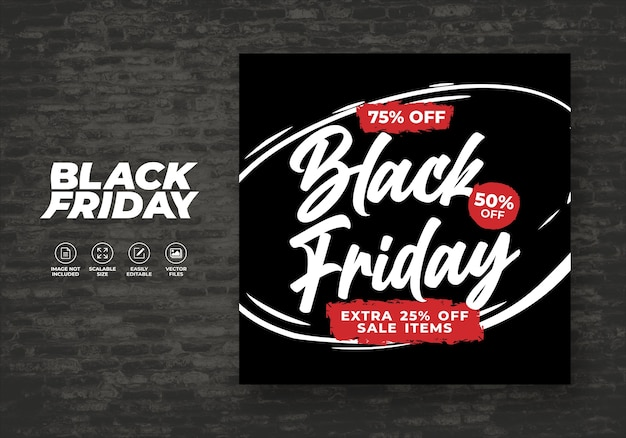 Black friday   for social media post feed discount banner template free