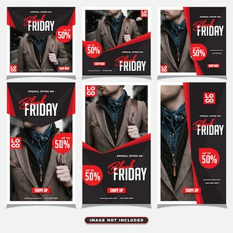 Black friday social media post and stories template