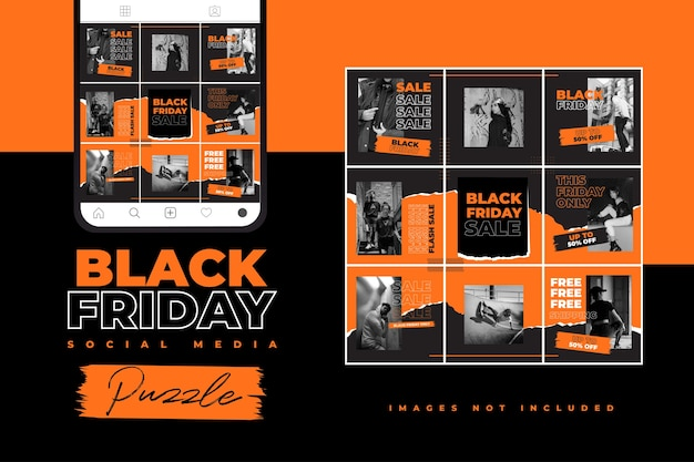 Black friday social media puzzle template with hype style and neon color