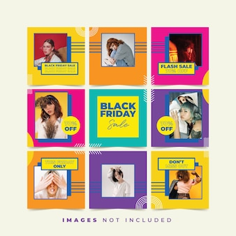 Black friday social media puzzle with trendy color collection