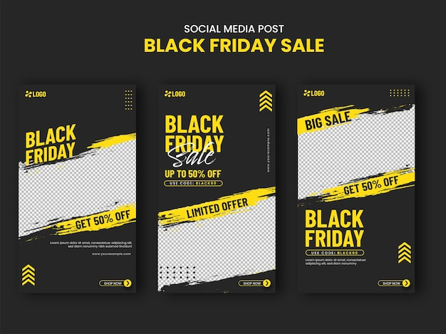 Black friday social media sale post or template design with 50% discount offer in three options.