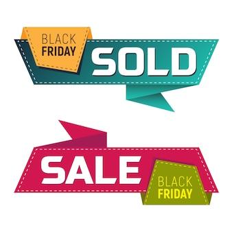 Черная пятница продает и продает баннеры или этикетки для маркетингового продвижения. векторные иллюстрации, изолированные на белом фоне. идеально подходит для рекламного дизайна вашего веб-сайта или печатных публикаций.